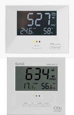CO2モニターとCO2コントローラーの画像